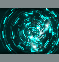 neon circles abstract background vector image vector image