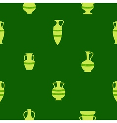 Seamless background with antique amphoras vector image