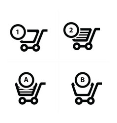 shopping cart icons and bubble talk vector image vector image