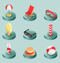 beach outline isometric icons vector image