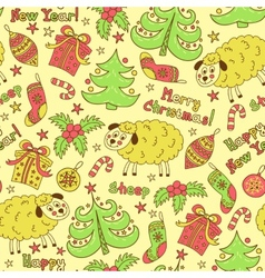 Christmas seamless pattern elements with sheep vector image vector image