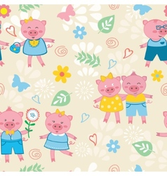 Cute pigs pattern vector image vector image