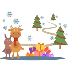 Greeting card with deer and rabbit vector image