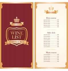 Royal wine list vector