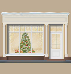 Storefront with showcase decorated for christmas vector