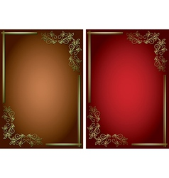 backgrounds with golden decorative frames vector image