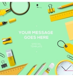 Colorful school supplies green background vector image vector image