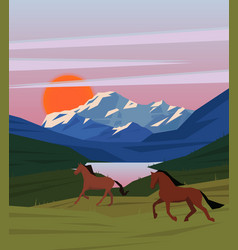 colorful sunrise nature scenery template vector image