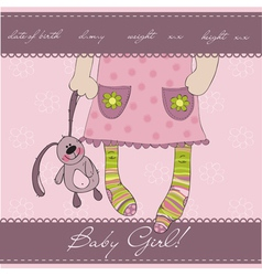 pink baby girl card vector image vector image