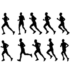 runners silhouettes vector image vector image