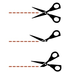 scissors with red cut lines vector image vector image