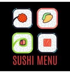 Sushi menu food logo template black vector image