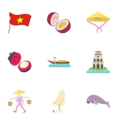 Vietnam icons set cartoon style vector image vector image