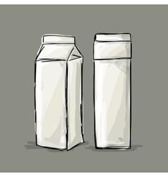 Cardboard milk package sketch for your design vector image