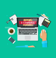 e-commerce store on laptop person working on vector image