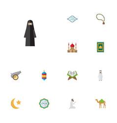 flat icons prayer carpet arabic calligraphy vector image
