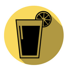 glass of juice icons flat black icon with vector image