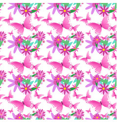 seamless pattern spring flower ornament cute vector image