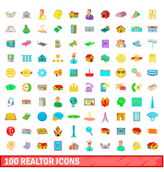 100 realtor icons set cartoon style vector image
