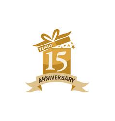15 years gift box ribbon anniversary vector