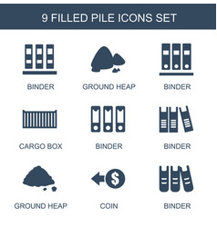 9 pile icons vector image