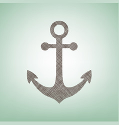 Anchor icon brown flax icon on green vector