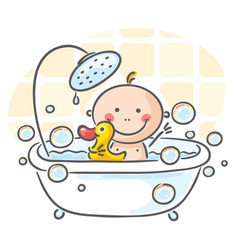 Baby in the bath vector