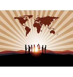 Business meeting with worldmap on mountain backgro vector image