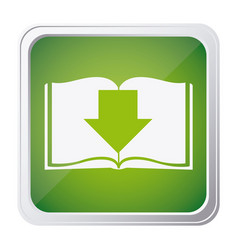 Button icon of book with arrow down with vector