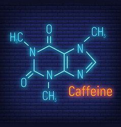Caffeine glow neon style concept chemical formula vector