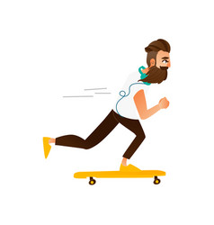 Cartoon hipster skateboarding vector