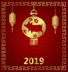 chinese background for happy new year 2019 zodiac vector image