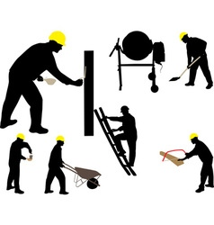 Construction workes mason silhouettes vs vector image