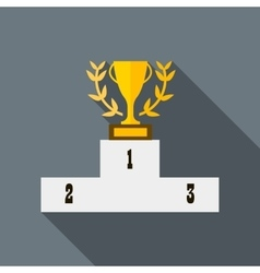 Cup of winner award on white podium icon vector image