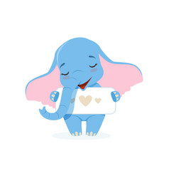 Cute baby elephant holding banner with hearts vector