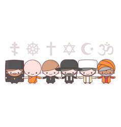 cute characters people different religions vector image