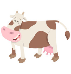 cute spotted cow farm animal vector image