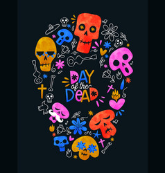 Day dead colorful mexican skull shape icons vector