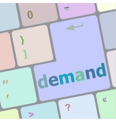 Demand button on computer pc keyboard key vector