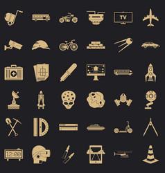 development in progress icons set simple style vector image