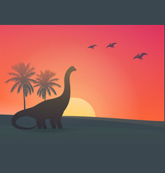 dinosaur sauropod at sunset vector image