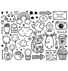 Doodles cute elements vector
