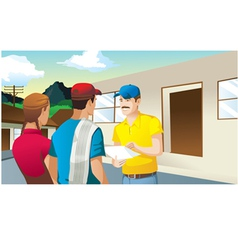 farmers making business in front of house man vector image