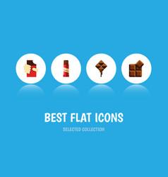 flat icon sweet set of cocoa shaped box vector image
