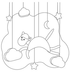 Flying cat coloring page kitten in cartoon style vector
