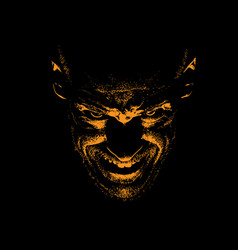 Frightening man portrait silhouette in backlight vector