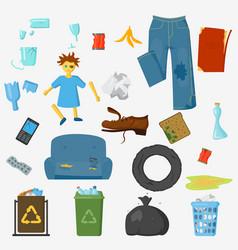Garbage set trash bags industry utilize vector