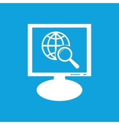 Global search monitor icon vector