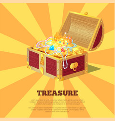 Glossy treasure chest banner vector