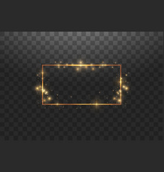 golden frame with lights effectsshining luxury vector image